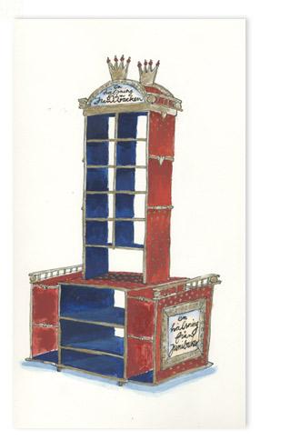 Koninklijke kar voor verkoop van kaarten affisches en boeken, voor Junibackens boekhandel